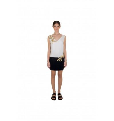 Siyah Beyaz Altın Elbise