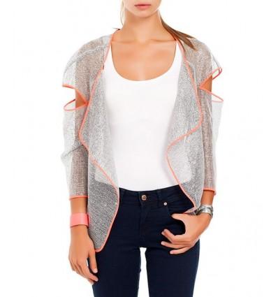 Neon Biyeli Gümüş File Ceket